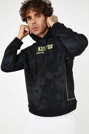 BREEZY Siyah Unisex Oversize Yazı Baskılı Kapüşonlu Sweatshirt Keep On Rising