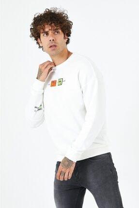 BREEZY Ekru Unisex Oversize Kabartma Baskılı Sweatshirt Keep On Rising
