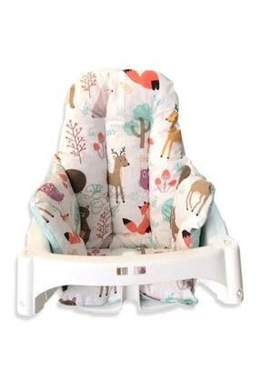 Bebek Özel Bebek Çocuk Mama Sandalyesi Minderi Doğa Yeşil Desenli