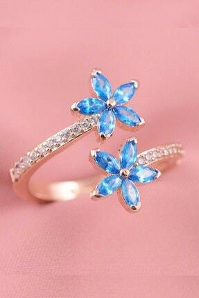 PETRİKOR Unutma Beni Çiçeği Mavi Taşlı Ayarlanabilir Kadın 14 K Altın Kaplama Yüzük