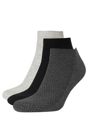 DeFacto Erkek Gri 3'Lü Patik Çorap N1029AZ21WNGR