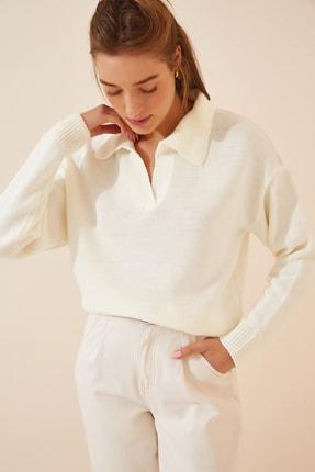 Happiness İst. Kadın Kırık Beyaz Polo Yaka Salaş Triko Kazak MT00051