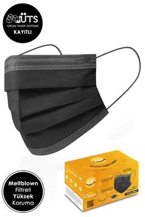 Mutlu Maske Meltblown Filtreli Yumuşak Lastikli 3 Katlı Telli Gri Şeritli Siyah Renkli Cerrahi Maske 30'lu