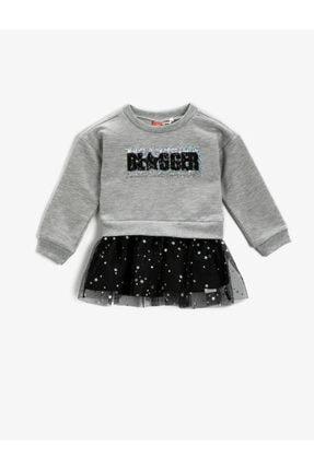 Koton Kız Bebek Gri Pullu Tüllü Elbise