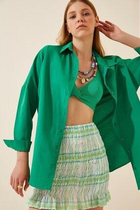 mor butik Kadın Koyu Yeşil Oversize Uzun Basic Gömlek Anka01001