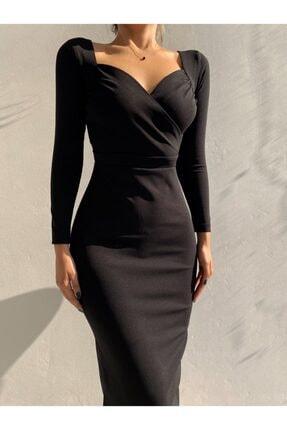 munora butik Kruvaze Yaka Kalem Siyah Elbise