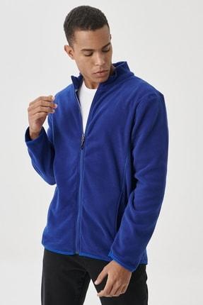 AC&Co / Altınyıldız Classics Erkek Saks Mavi Standart Fit Günlük Rahat Tam Fermuarlı Bato Yaka Polar Spor Sweatshirt