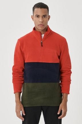 AC&Co / Altınyıldız Classics Erkek Kırmızı-Lacivert Standart Fit Günlük Rahat Bato Yaka Polar Sweatshirt