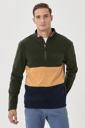 AC&Co / Altınyıldız Classics Erkek HAKI-KARAMEL Standart Fit Günlük Rahat Bato Yaka Polar Sweatshirt