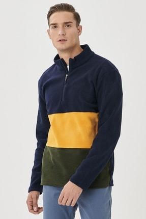 AC&Co / Altınyıldız Classics Erkek Lacivert-Sarı Standart Fit Günlük Rahat Bato Yaka Polar Sweatshirt