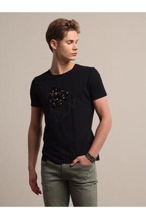Kip Erkek Siyah Baskılı Örme T - Shirt KP10120559