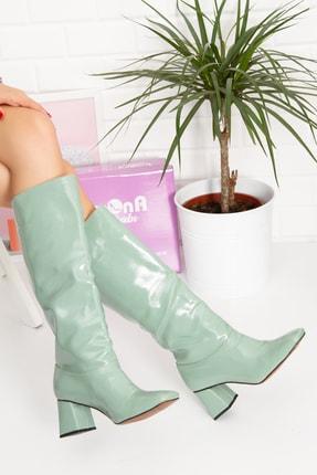 irmona Dream Kadın Topuklu Yeşil Rugan Çizme