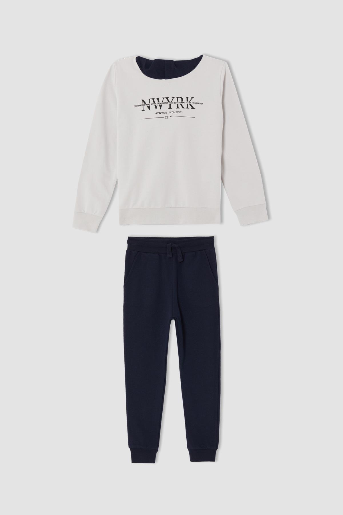DeFacto Erkek Çocuk Regular Fit Slogan Baskılı Kapüşonlu Sweatshirt Ve Jogger Eşofman Altı Takımı