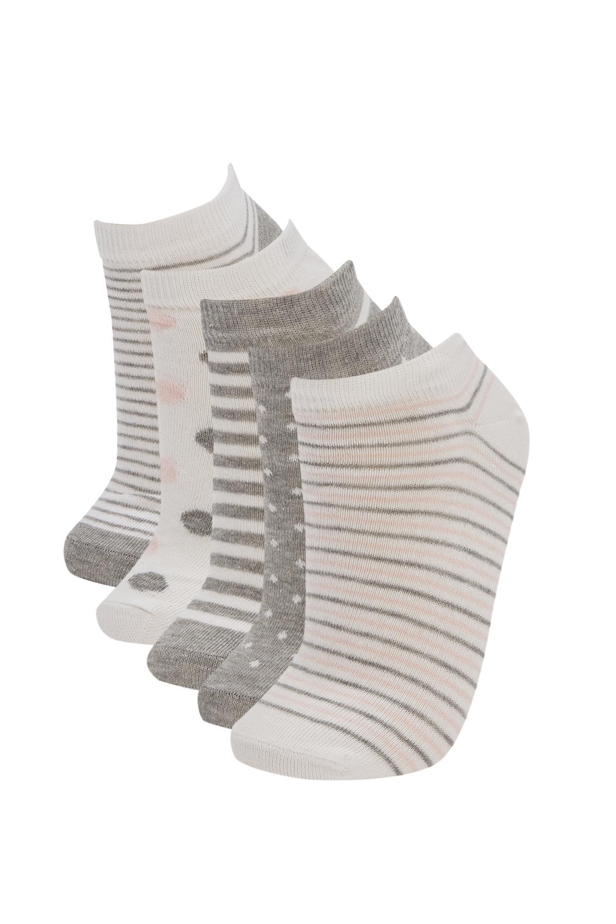 DeFacto Kadın Çok Renkli Desenli Patik Çorap 5'Li V9712AZ21HSKR