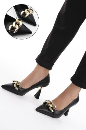 Marjin Kadın Siyah Stiletto Topuklu Ayakkabı Viyolin