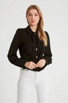 Robin Kurdele Detaylı Bluz Siyah