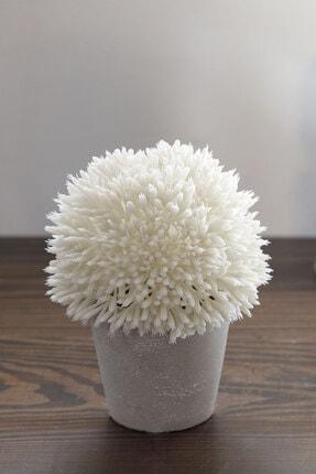 English Home Flower Bunch Seramik Vazolu Yapay Çiçek 11x11x14 Cm Beyaz
