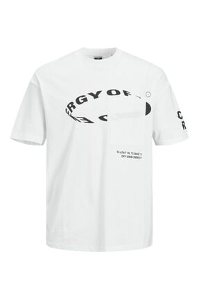 Jack & Jones Fung Tee Ss Crew Neck Erkek Beyaz Tshirt 12193026-01