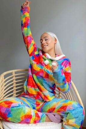 Pijamaevi Beyond Desenli Tam Peluş Pijama Takımı