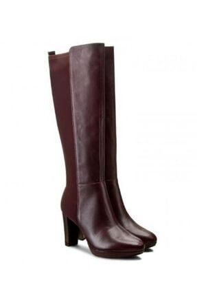 CLARKS Kadın Streç Detaylı Bordo Topuklu Çizme