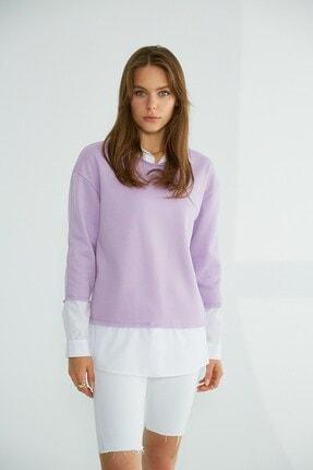 Robin Gömlek Detaylı Sweatshirt Lila