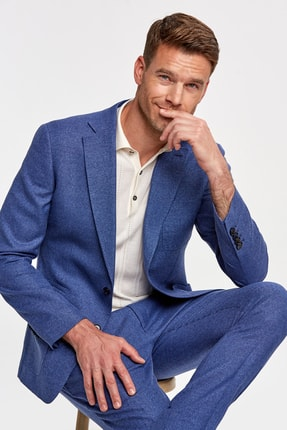 Hemington Koyu Mavi Keten Dokuma Ceket