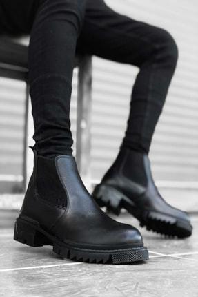 Mida Shoes Içi Dışı Hakiki Deri Siyah Erkek Spor Yarım Bilek Bot
