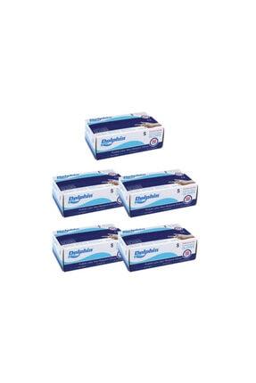 Dolphin Mavi Pudralı Lateks Eldiven 5 Paket 100lü M Beden