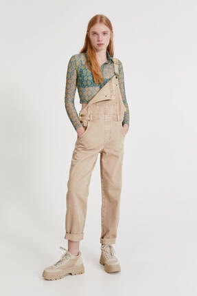 Pull & Bear Uzun Renkli Denim Salopet