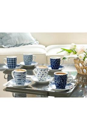 English Home Romana Porselen 6'lı Kahve Fincan Takımı 80 ml Lacivert