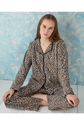 Sude Kadın Kahverengi Önden Düğmeli Polar Pijama Takımı