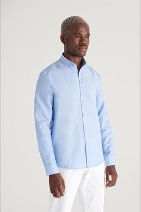 Avva Erkek Mavi Oxford Düğmeli Yaka Regular Fit Gömlek E002000