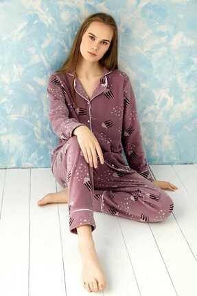Sude Homewear Plr-p-9004 Mor Bayan Önden Düğmeli Polar Pijama Takımı