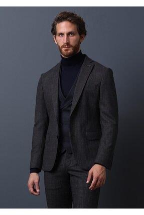 Ramsey Erkek  Kahverengi Kareli Dokuma Yelekli Takım Elbise