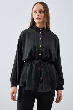 Gusto Beli Büzgülü Ceket Bluz - Siyah