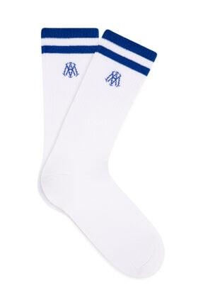 Mavi Logolu Çizgili Beyaz Çorap 092699-620