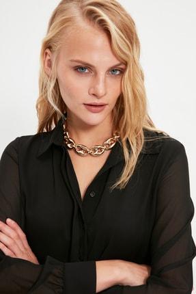 TRENDYOLMİLLA Siyah Krep Kolları Şifon Gömlek TWOAW20GO0116