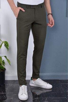 Bürke Erkek Haki Renk Italyan Kesim Slimfit Kumaş Pantolon