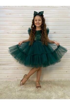 Pumpido Kız Çocuk Yeşil Pulpayetli Tül Etek Özel Gün Abiye Elbisesi