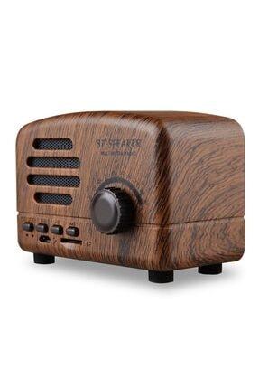JUNGLEE Retro Nostaljik Mini Radyo Bluetooth Hoparlör Sd Speaker Bt01 Ahşap
