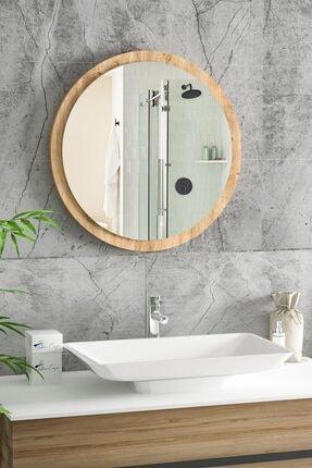 bluecape Yuvarlak Ayna 45cm Atlantik Çam Dresuar Hol Koridor Duvar Salon Banyo Wc Ofis Çocuk Yatak Odası Boy