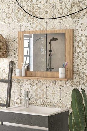 bluecape Modena 60x45cm Atlantik Çam Raflı Ayna Dresuar Hol Koridor Salon Banyo Wc Ofis Çocuk Yatak Odası Boy