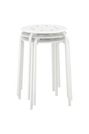 IKEA Tabure,beyaz Meridyendukkan Genişlik 40cm Beyaz Renk Yuvarlak Tabure