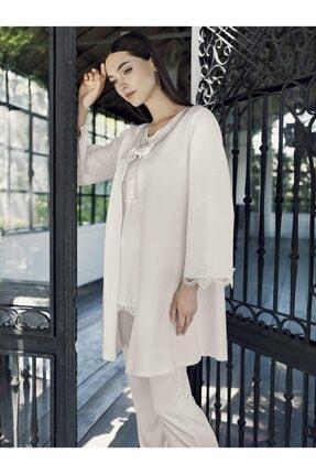 Artış 9302 Kapıtone Ceket 3 Lü Sabahlıklı Pijama Takım 21k