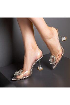 Flower Naturel Şeffaf Taşlı Abiye Ayakkabı