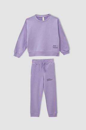DeFacto Kız Çocuk Crop Sweatshirt Ve Jogger Eşofman Takımı