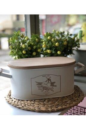 Phigo Ahşap Kapaklı Ekmeklik Beyaz Ekmek Saklama Kutusu Ekmek Sepeti Metal Ekmeklik