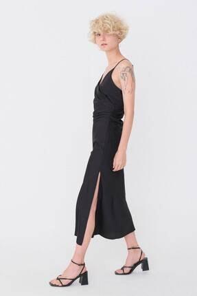 Addax Drape Detaylı Saten Elbise E32264 - S6