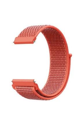 CaseStreet Case Street Google Ticwatch S2 Wear Os Kordon Cırtcırt Kumaş Ayarlanabilir Turuncu