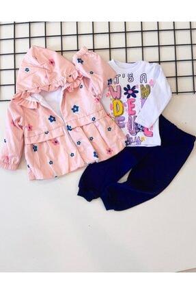 sm bebek Kız Bebek Çiçekli Yağmurluk 3lü Takım